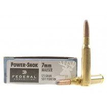 Federal Power-Shok 7x57mm Mauser (7mm Mauser) 175 Grain Round Nose Soft Point, 20 Round Box