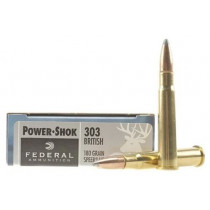 Federal Power-Shok Ammunition 303 British 180 Grain Speer Hot-Cor Soft Point, Box of 20