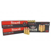 Sterling 9mm Ammunition 9mm Luger 115 GR. FMJ Brass