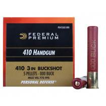 "Federal Premium Personal Defense 410 GA, 3"" '000' Buckshot, 5 Pellet, Box of 20"