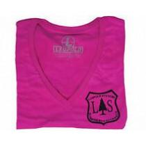 Leupold Woman's V-Neck Tee, Neon Magenta, Leupold Logo, Size: Large