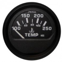 "Faria Euro Black 2"" Water Temperature Gauge"
