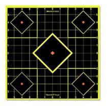 "Birchwood Casey Shoot N C 12"" Sight-In Self-Adhesive Target Reactive Paper Target Indoor/Outdoor Black Neon Grid 5 Pack"
