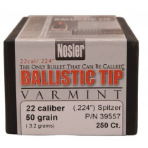 "Nosler Ballistic Tip Varmint Bullets .22 cal .224"" 50 gr SBT-SB, Box of 250"