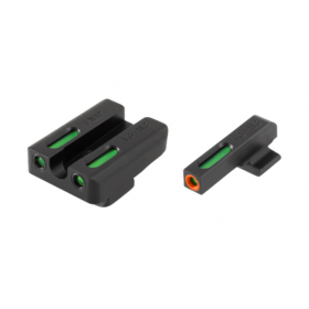 TRUGLO TFX Pro FN FNP-45/FNX-45 Front and Rear Set Green TFO Night Sights Orange Ring Steel Black TG13FN3PC