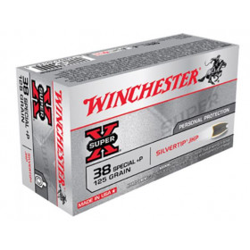 Winchester Super-X 38 Special, 125 GR Silvertip HP,  Box of 50